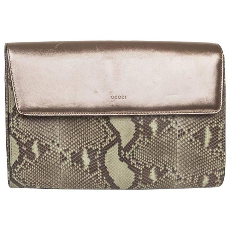 GUCCI Clutch in Green Bronze Colored Python For Sale