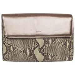 GUCCI Clutch in Green Bronze Colored Python