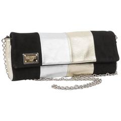DOLCE & GABBANA Clutch in Gilded and Silver Leather and Black Suede