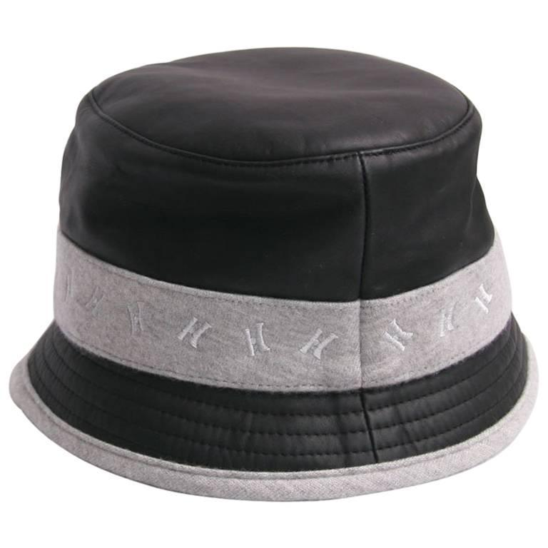 HERMES Size 57 Black Calf Leather and Grey Cashmere Bucket Hat