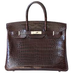 Hermès 35CM Burgundy Porosus Crocodile Palladium H/W Birkin Bag
