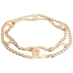 Belt CHANEL Size 70 FR Double Row of Gilded Metal Chain