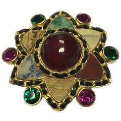 CHANEL Couture Brooch in Molten Glass and Small Colored Faceted Stones