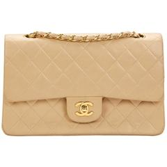 1990s Chanel Beige Quilted Lambskin Vintage Medium Classic Double Flap Bag