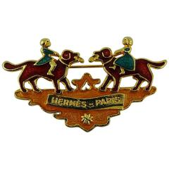Hermes Paris Enamel Children and Dogs Brooch