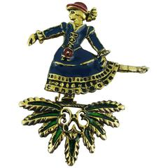 Hermès Paris Enamel Ice Skater Brooch