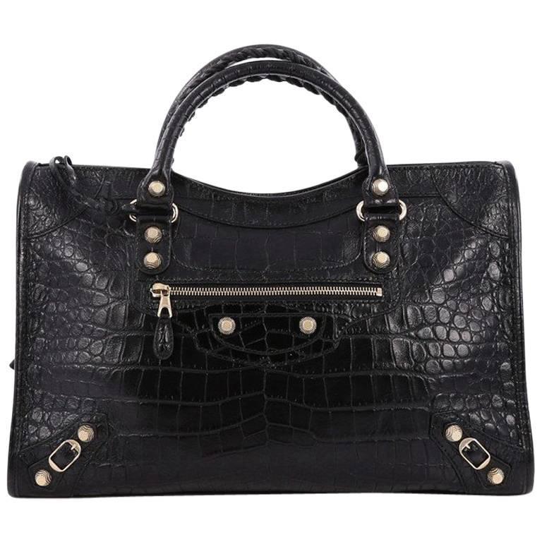 b63bc40b5ff Balenciaga City Giant Studs Handbag Crocodile Embossed Leather Medium For  Sale