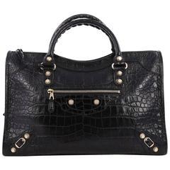 Balenciaga City Giant Studs Handbag Crocodile Embossed Leather Medium