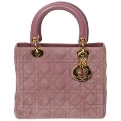 Lady Dior MM Lilac Cannage Suede