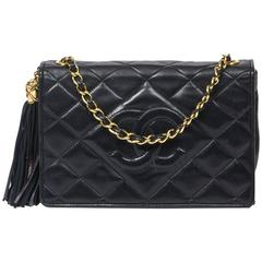 Flap Tassel Bag Navy Quilted Leather