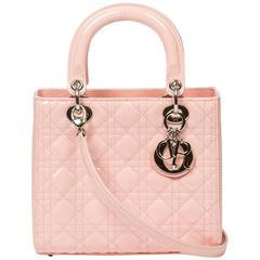 Lady Dior MM Soft Pink Cannage Patent Leather