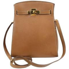 Vintage 1994 Hermes Kelly Sport Bag in Gold Brown Leather.