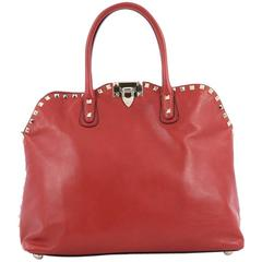 Valentino Rockstud Convertible Dome Satchel Leather