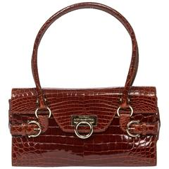 Handbag Brown Crocodile
