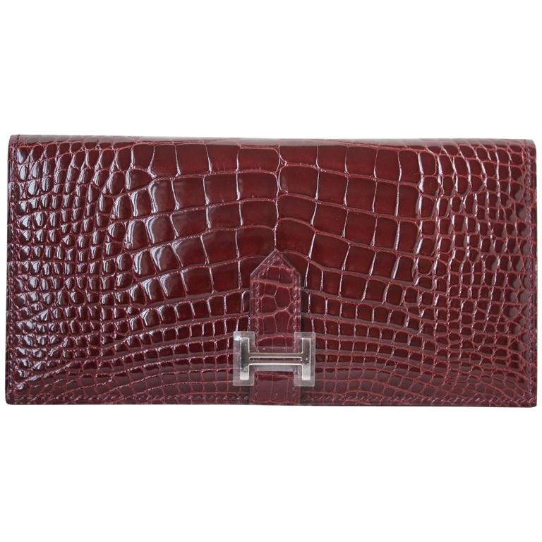 Hermès Crocodile Bearn Burgundy Palladium H/W Wallet Purse
