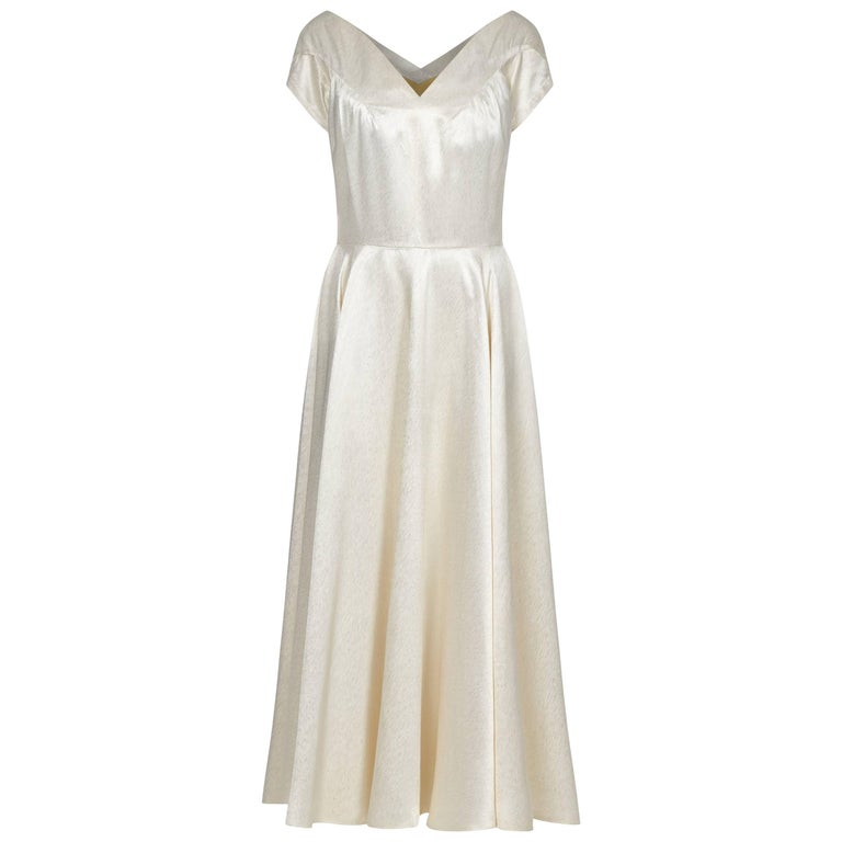 Late 1940s silk french couture wedding dress for sale at for French couture dresses