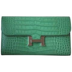 Hermès Matte Croc Constance Long Palladium Hardware Wallet