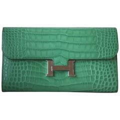 Hermès Matte Croc Constance Long Palladium H/W Wallet