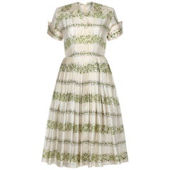 1950s Silk Cream Floral Dress
