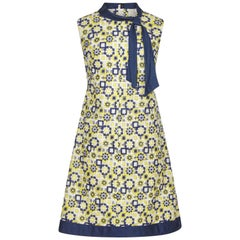 1960s French Couture Blue and Yellow Embroidered A-Line Shift Dress