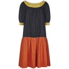 Yves Saint Laurent 1980s Peasant Dress With Drop Waist and Billowed Sleeves