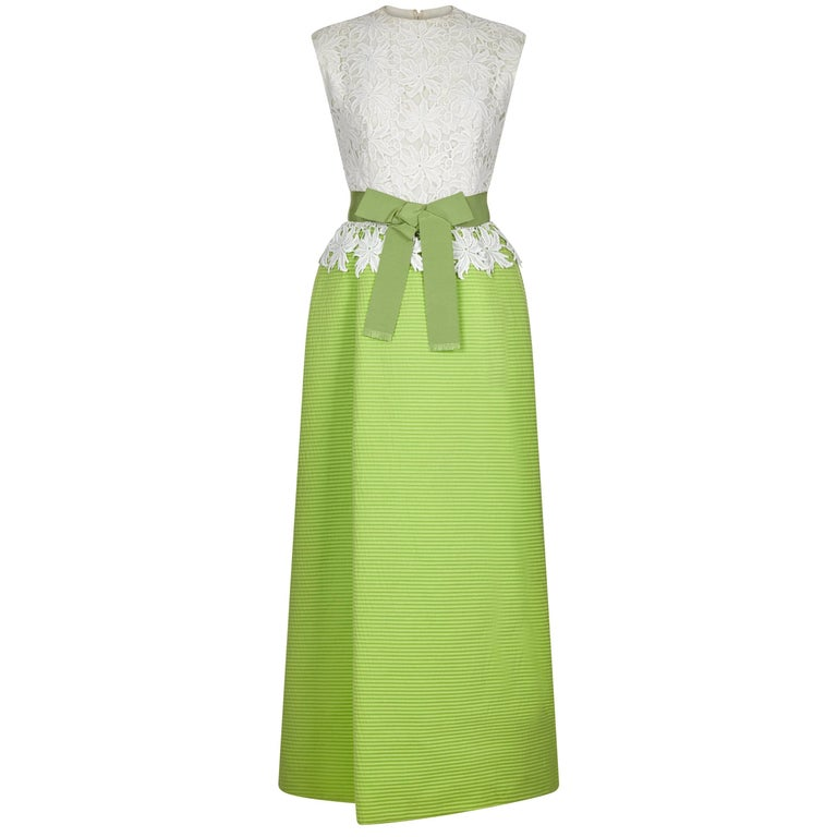 1960s Belinda Bellville Couture Lime Green and Lace Dress