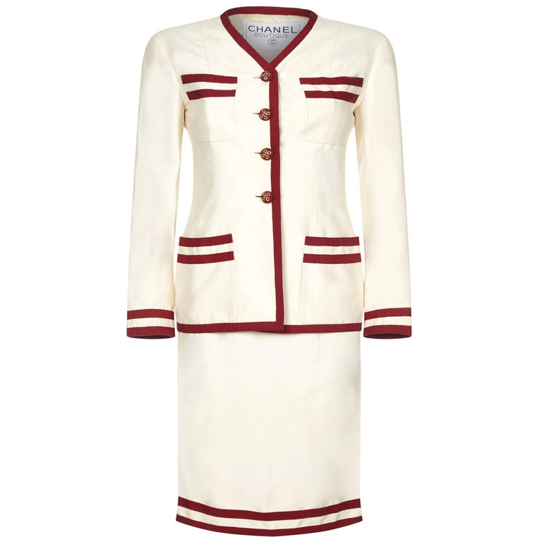 Chanel 1990s Cream Silk Suit with Red Trim