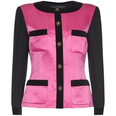 Chanel 1980s Pink and Black Satin Blazer
