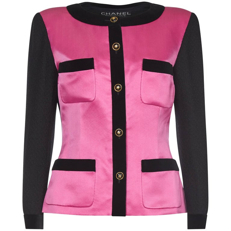Chanel 1980s Pink and Black Satin Blazer