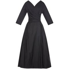 1950s Jean Wurtz Haute Couture Black Silk New Look Dress