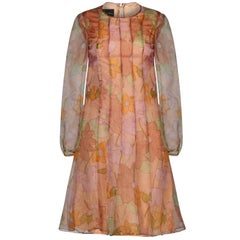 Simon Massey 1960s Organza Floral Print Dress