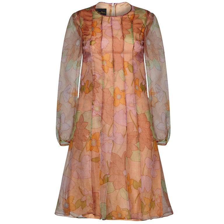 Simon Massey 1960s Organza Floral Print Dress