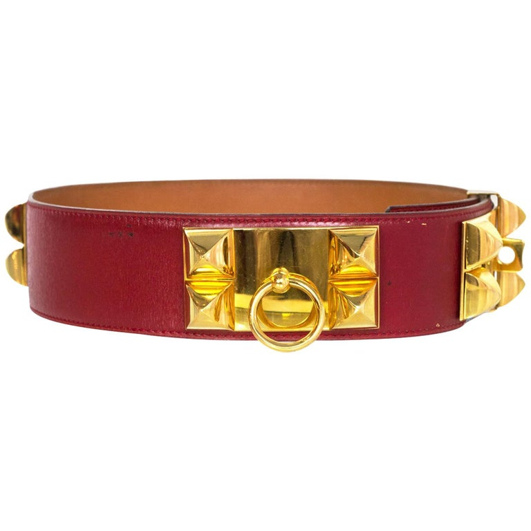Hermes Red Vintage Collier de Chein CDC Belt XS