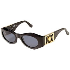 1990s Gianni Versace Black Medusa Vintage Sunglasses with Case Mod 422 Col 852