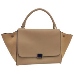 Coveted Celine Taupe Leather Trapeze Medium Bag