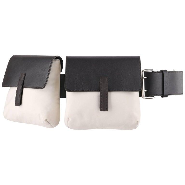 PRADA Sport Dark Brown Leather & Winter White Nylon Double Pouch Waist Belt Bag For Sale