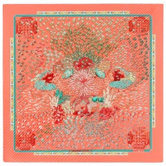 "HERMES S/S 2001 Annie Faivre ""Rencontre Oceane"" Coral Reef Pleated Silk Scarf"