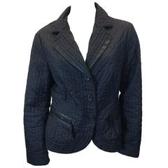 Armani Faux Leather Trimmed Black Quilted Blazer