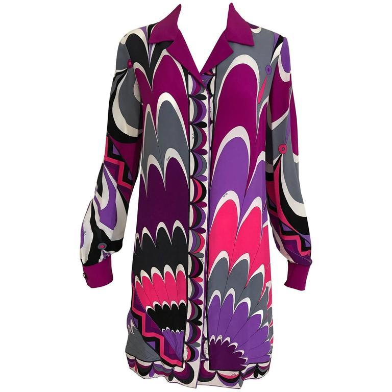 303d72b09 Vintage Emilio Pucci Multi Color Vibrant Mod Print Silk Mini Tunic Dress  For Sale