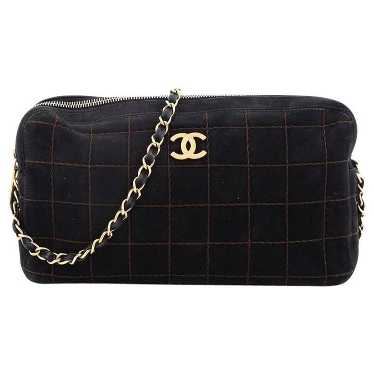 76d8eb062aba Chanel Vintage Chocolate Bar Camera Bag Quilted Suede at 1stdibs