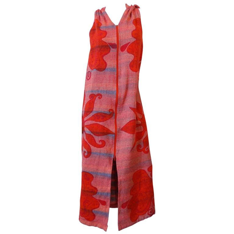1970s Hooded Zip Up Rikma Floral Print  Dress