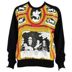 Hermes Black Knit Silk Printed Panel Pullover Sweater SZ 40