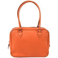 "Hermes NIB $5700 Orange Swift Leather ""Plume 21"" Double Handle Bag"