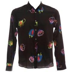 Paul Smith Men's Black Printed Moon Jellies Cotton Shirt, Spring 2013