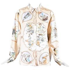 """Hermes Light Pink Multi Silk """"Les Chevaux des Moghols"""" Printed LS Blouse SZ 44"""