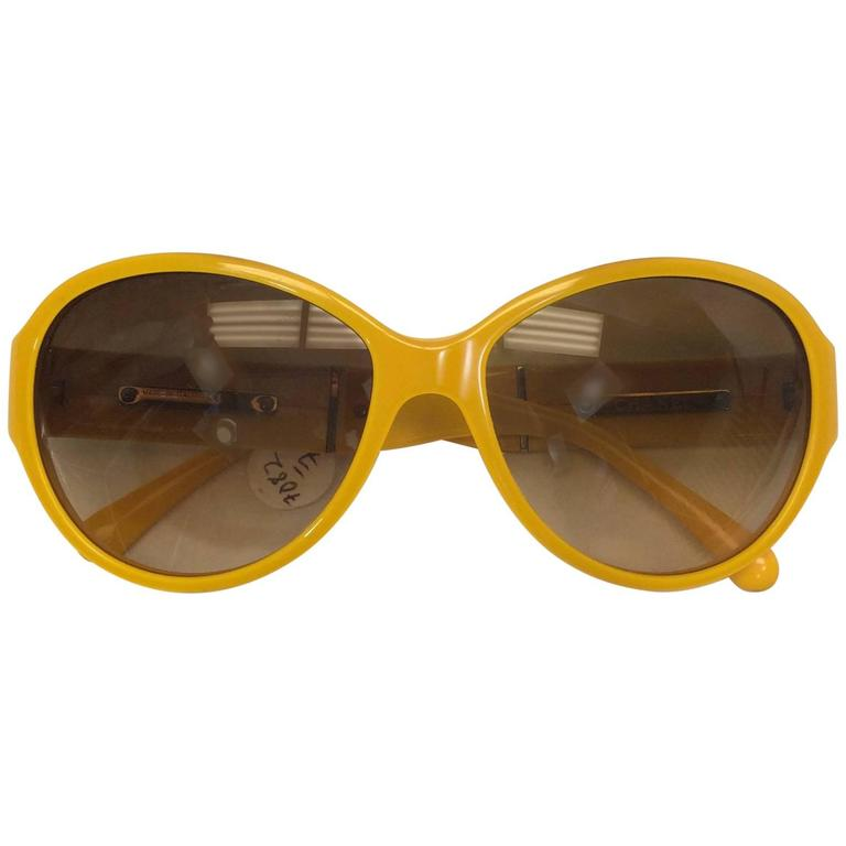 Chanel Yellow Framed Glasses with White Logo Inlay For Sale
