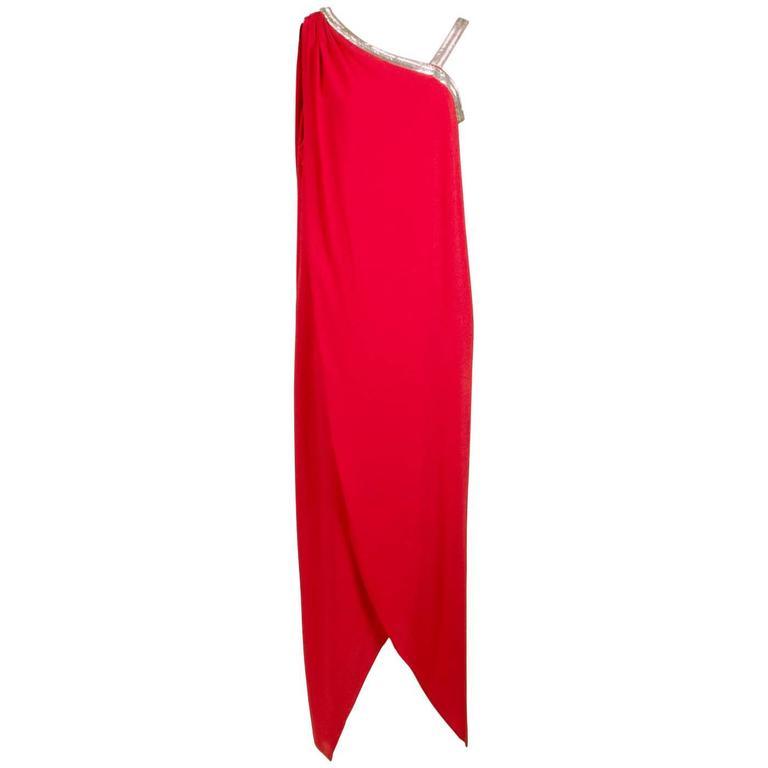 Bill Blass Red Tulip Dress circa 1970s