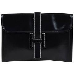 "Vintage Hermes Black ""Box Calf"" Leather ""Jige PM"" Clutch Bag"