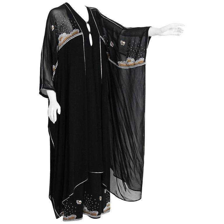 1972 Janice Wainwright Black Chiffon Novelty Sun & Rain Embroidery Caftan Dress 1