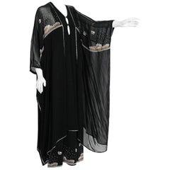 Janice Wainwright Black Chiffon Novelty Sun Rain Embroidery Caftan Dress, 1972